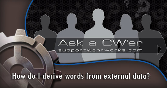 How do I derive words from external data?